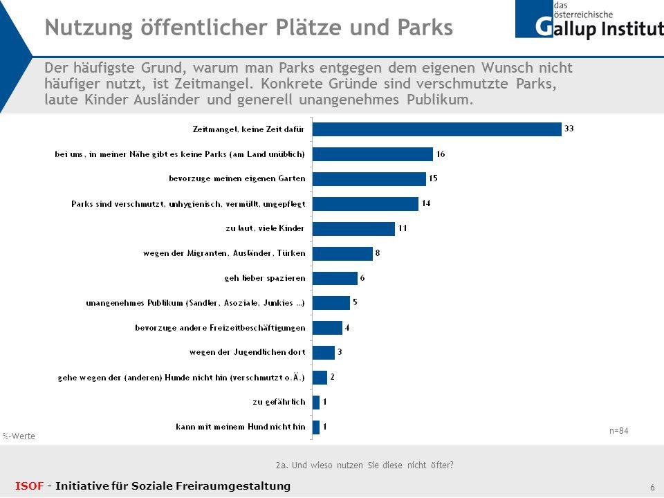 7 3.Welche der folgenden Aspekte in der Nutzung von öffentlichen Plätzen bzw.