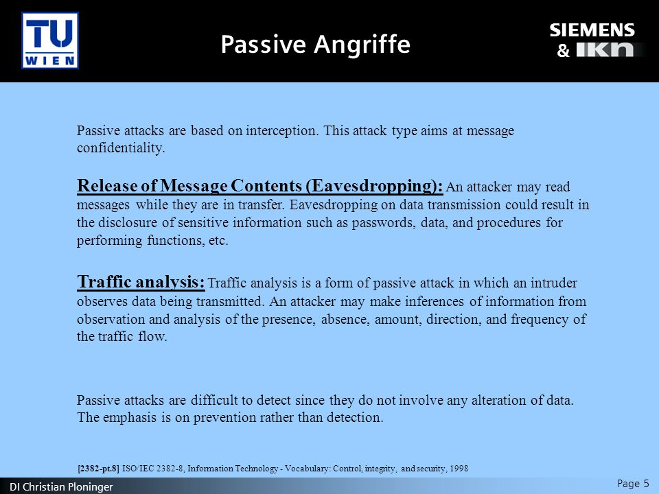 s & Page 5 DI Christian Ploninger Passive Angriffe Passive attacks are based on interception.