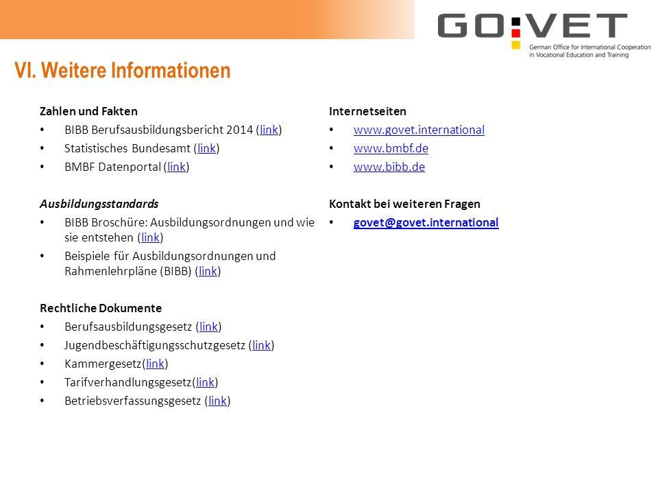 VI. Weitere Informationen Zahlen und Fakten BIBB Berufsausbildungsbericht 2014 (link)link Statistisches Bundesamt (link)link BMBF Datenportal (link)li