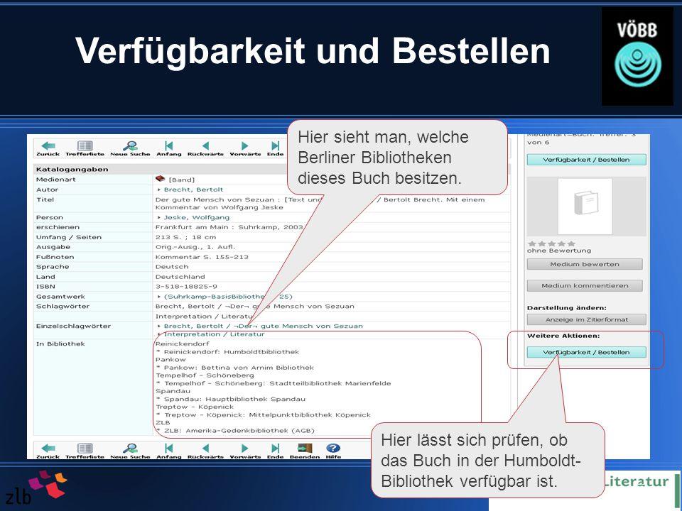 11 Verfügbarkeit und Bestellen Hier sieht man, welche Berliner Bibliotheken dieses Buch besitzen.