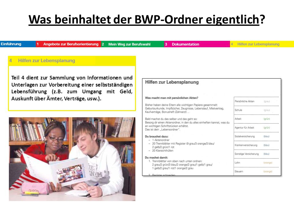 Was beinhaltet der BWP-Ordner eigentlich? Teil 4 dient zur Sammlung von Informationen und Unterlagen zur Vorbereitung einer selbstständigen Lebensführ