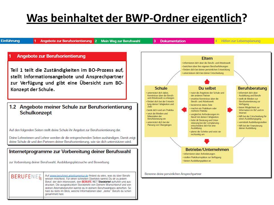 Was beinhaltet der BWP-Ordner eigentlich? Teil 1 teilt die Zuständigkeiten im BO-Prozess auf, stellt Informationsangebote und Ansprechpartner zur Verf