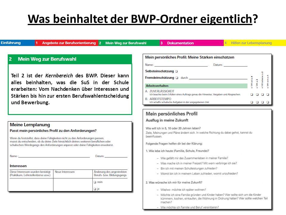 Was beinhaltet der BWP-Ordner eigentlich? Teil 2 ist der Kernbereich des BWP. Dieser kann alles beinhalten, was die SuS in der Schule erarbeiten: Vom