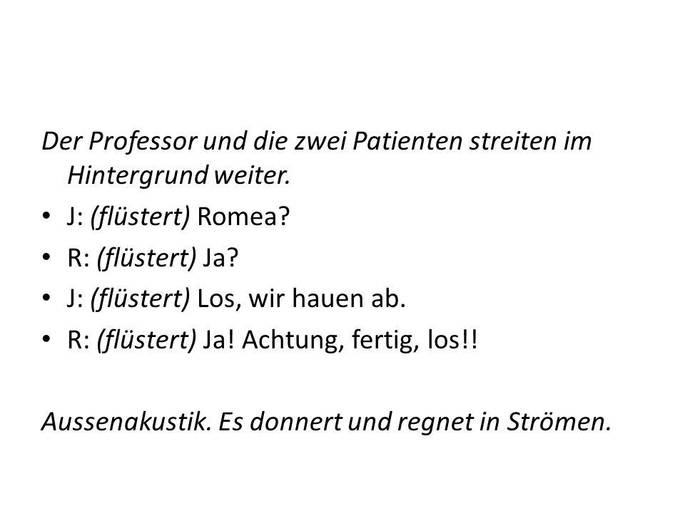 Der Professor und die zwei Patienten streiten im Hintergrund weiter. J: (flüstert) Romea? R: (flüstert) Ja? J: (flüstert) Los, wir hauen ab. R: (flüst