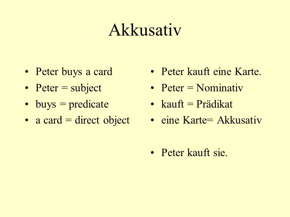 Akkusativ Peter buys a card Peter = subject buys = predicate a card = direct object Peter kauft eine Karte.