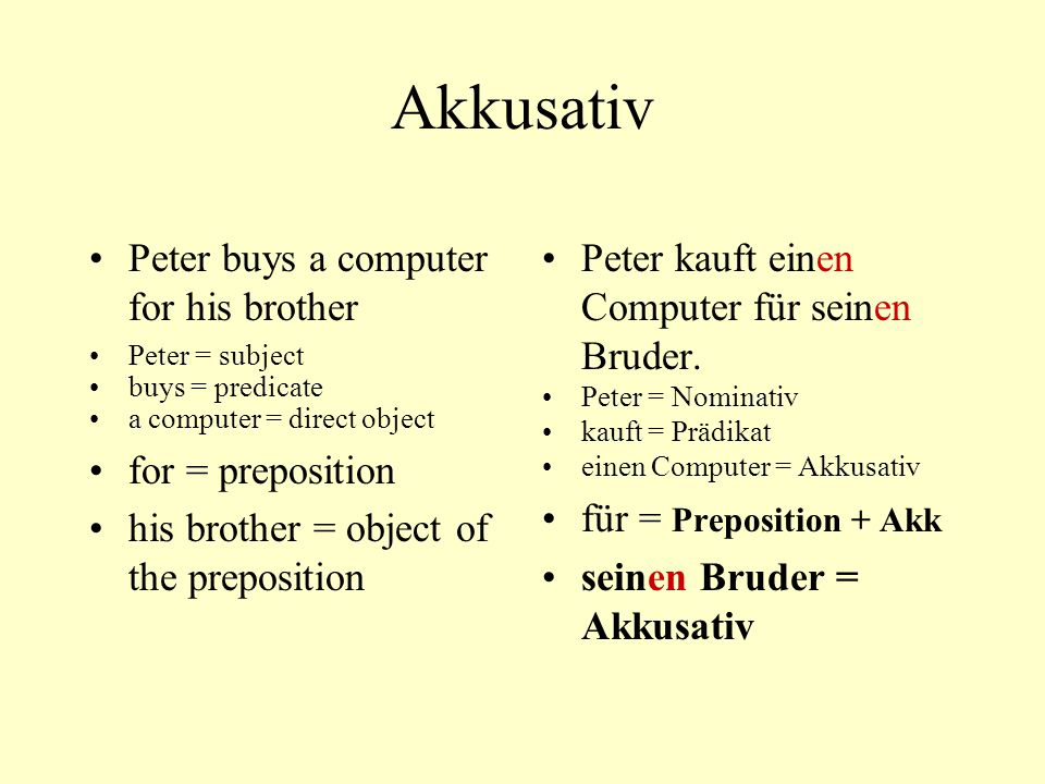Akkusativ Peter buys a computer for his brother Peter = subject buys = predicate a computer = direct object for = preposition his brother = object of
