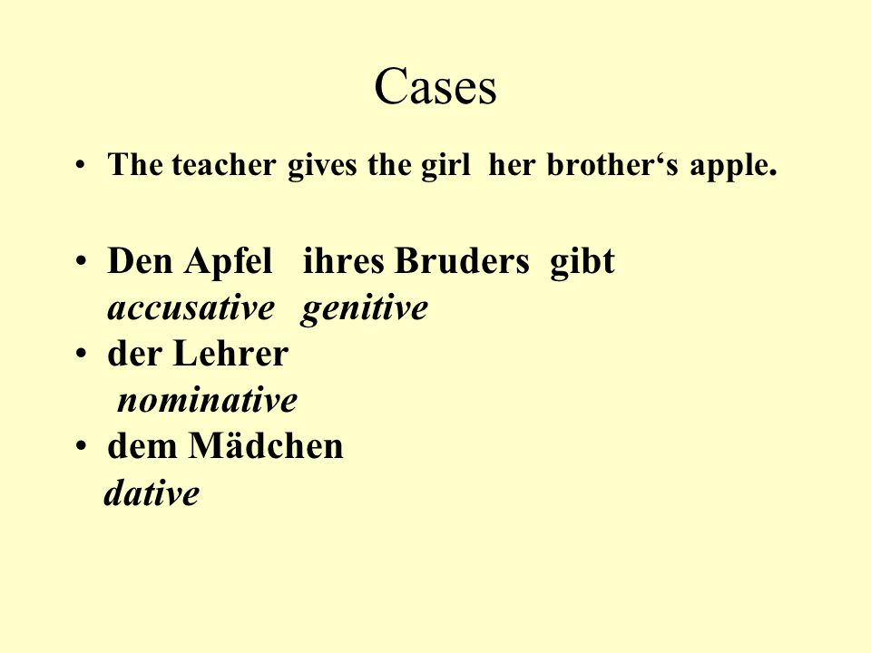 Cases The teacher gives the girl her brother's apple.