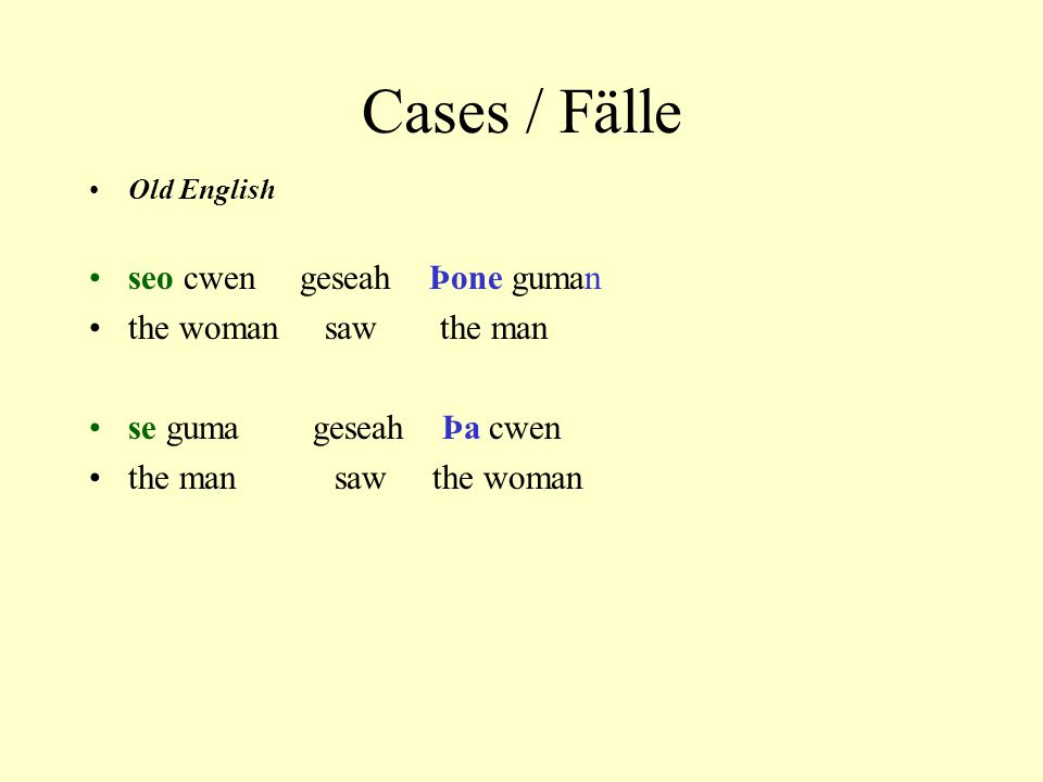 Cases / Fälle New English The woman saw the man Shesawhim The man saw the woman Hesawher