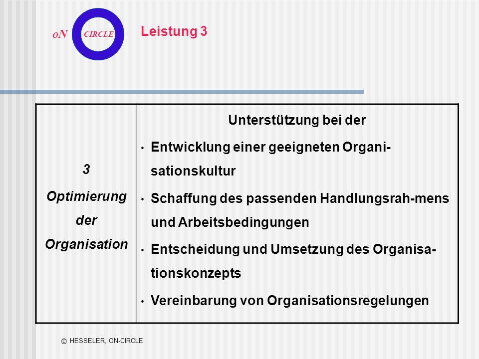 O N CIRCLE © HESSELER, ON-CIRCLE 3 Optimierung der Organisation Unterstützung bei der Entwicklung einer geeigneten Organi- sationskultur Schaffung des