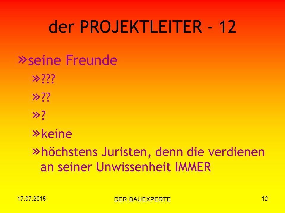 17.07.2015 DER BAUEXPERTE 12 der PROJEKTLEITER - 12 » seine Freunde » ??? » ?? »?»? » keine » höchstens Juristen, denn die verdienen an seiner Unwisse