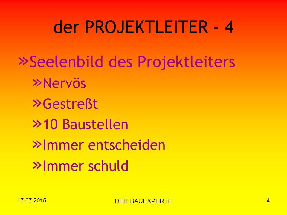 17.07.2015 DER BAUEXPERTE 4 der PROJEKTLEITER - 4 » Seelenbild des Projektleiters » Nervös » Gestreßt » 10 Baustellen » Immer entscheiden » Immer schu