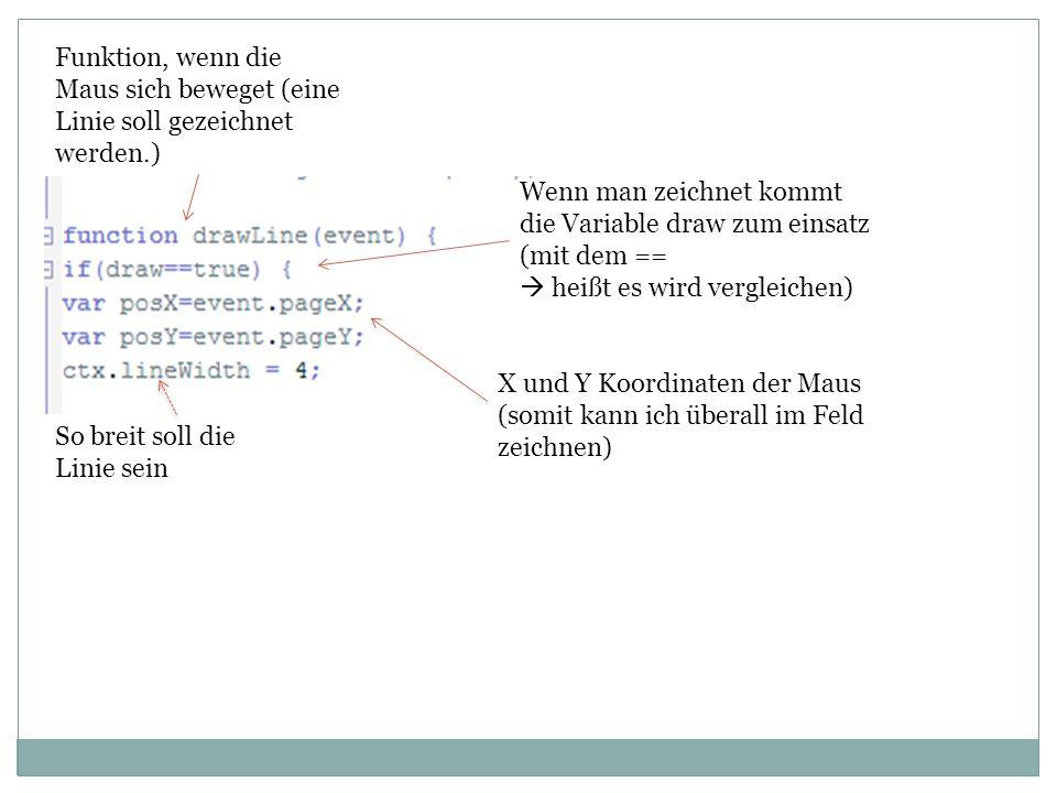 Funktion, wenn die Maus sich beweget (eine Linie soll gezeichnet werden.) Wenn man zeichnet kommt die Variable draw zum einsatz (mit dem ==  heißt es