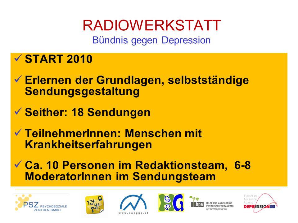 RADIOWERKSTATT Bündnis gegen Depression START 2010 Erlernen der Grundlagen, selbstständige Sendungsgestaltung Seither: 18 Sendungen TeilnehmerInnen: Menschen mit Krankheitserfahrungen Ca.