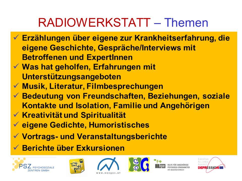 RADIOWERKSTATT – Ausstrahlung der Sendungen Am 3.