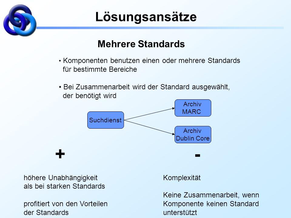 Lösungsansätze Mehrere Standards Komponenten benutzen einen oder mehrere Standards für bestimmte Bereiche Bei Zusammenarbeit wird der Standard ausgewä