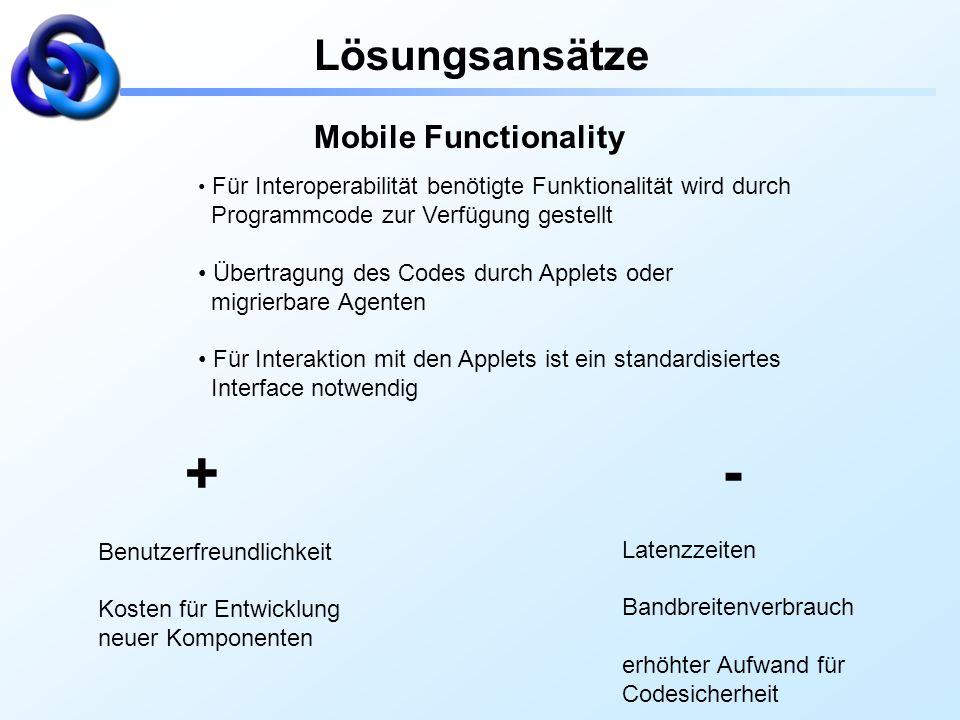 Lösungsansätze Mobile Functionality Für Interoperabilität benötigte Funktionalität wird durch Programmcode zur Verfügung gestellt Übertragung des Code