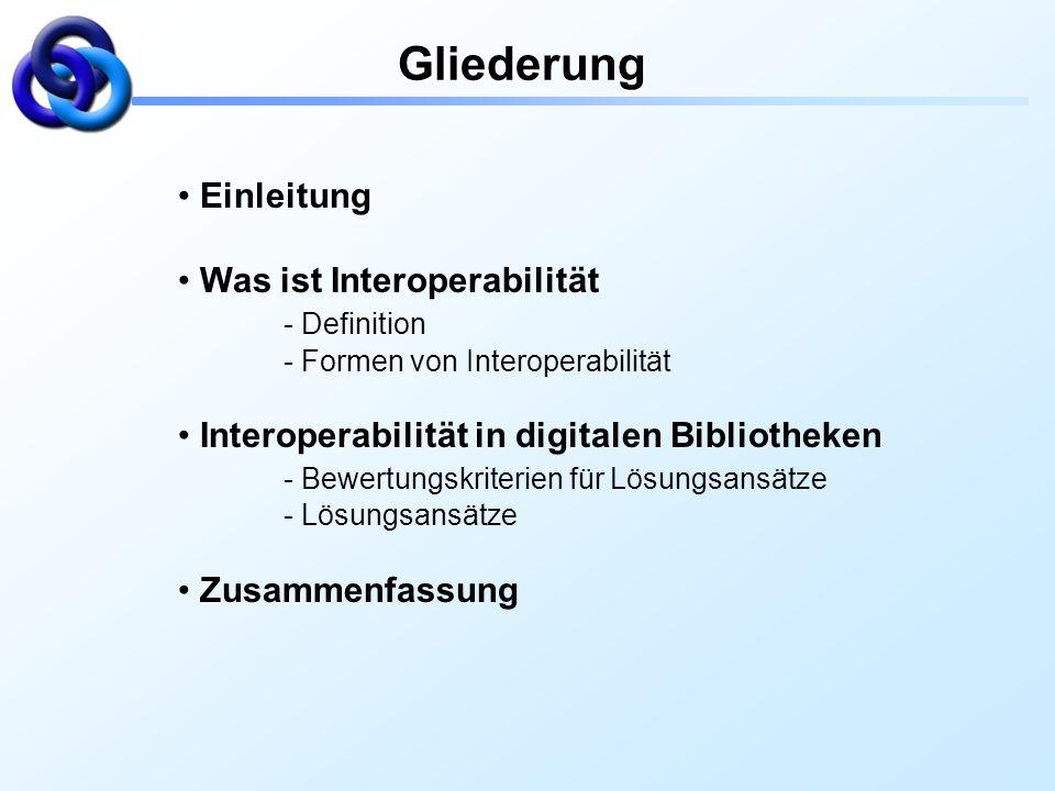 Gliederung Einleitung Was ist Interoperabilität - Definition - Formen von Interoperabilität Interoperabilität in digitalen Bibliotheken - Bewertungskr