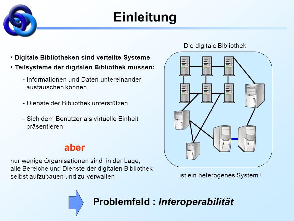 Die digitale Bibliothek Einleitung Digitale Bibliotheken sind verteilte Systeme Teilsysteme der digitalen Bibliothek müssen: - Informationen und Daten