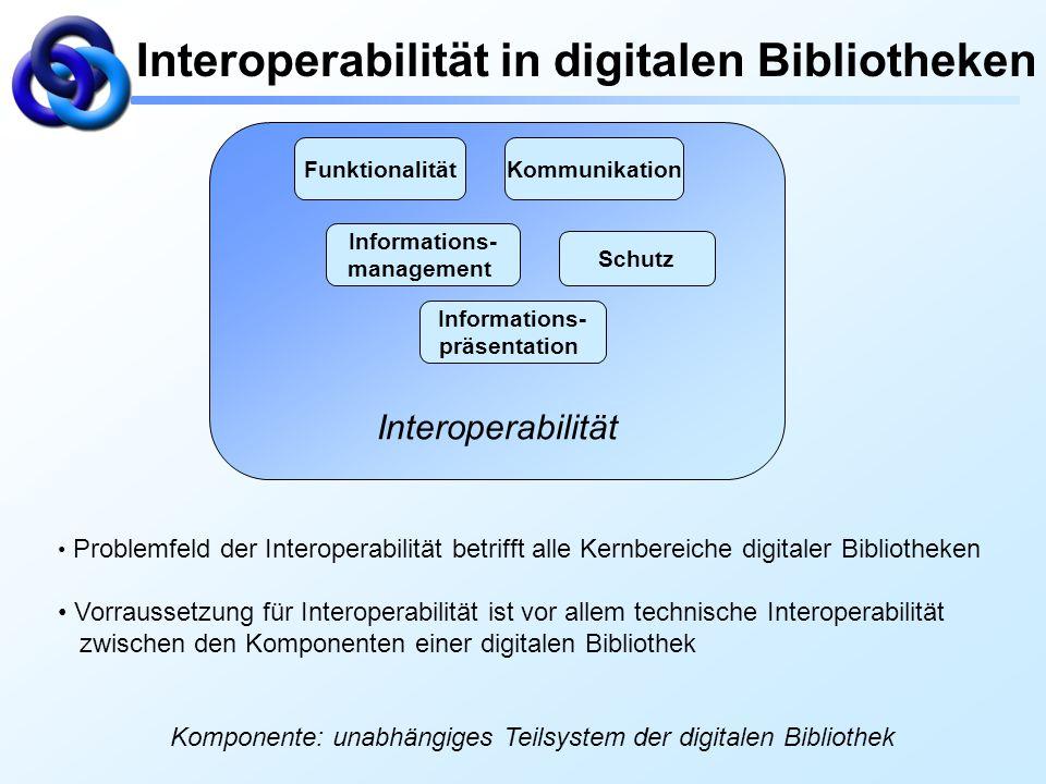 Interoperabilität in digitalen Bibliotheken Interoperabilität Funktionalität Informations- management Informations- präsentation Kommunikation Schutz