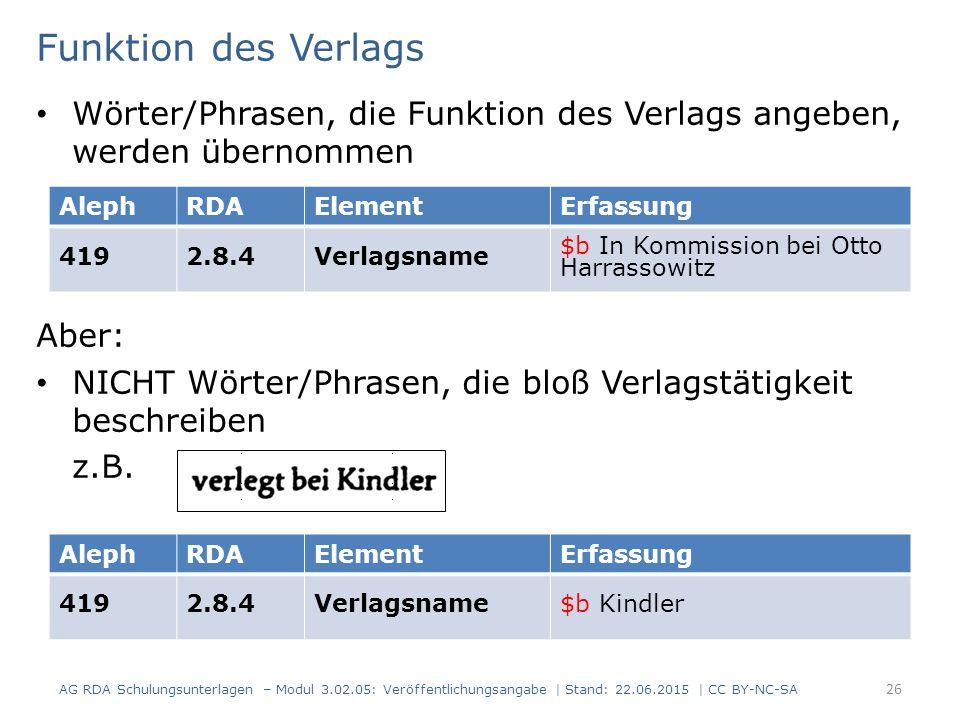 Funktion des Verlags Wörter/Phrasen, die Funktion des Verlags angeben, werden übernommen Aber: NICHT Wörter/Phrasen, die bloß Verlagstätigkeit beschre