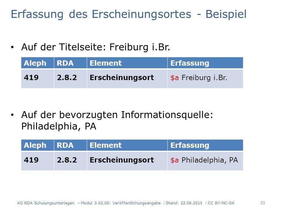 Erfassung des Erscheinungsortes - Beispiel Auf der Titelseite: Freiburg i.Br. Auf der bevorzugten Informationsquelle: Philadelphia, PA AlephRDAElement