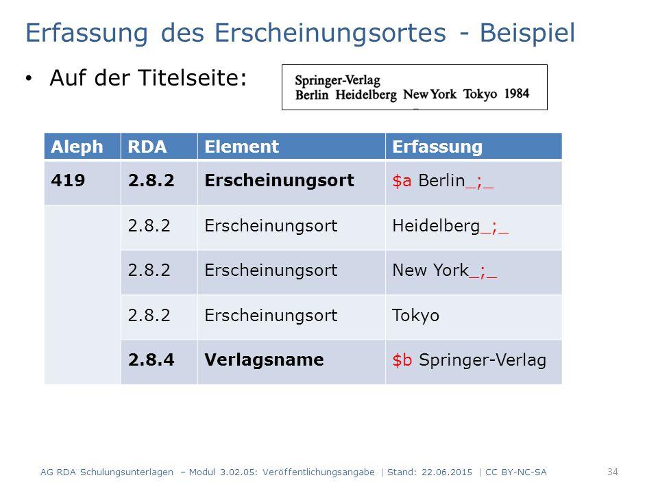 Erfassung des Erscheinungsortes - Beispiel Auf der Titelseite: AlephRDAElementErfassung 4192.8.2Erscheinungsort$a Berlin_;_ 2.8.2ErscheinungsortHeidel