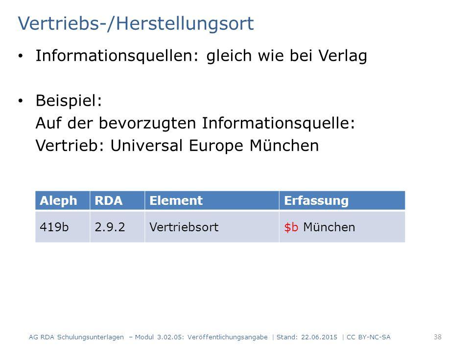 Vertriebs-/Herstellungsort Informationsquellen: gleich wie bei Verlag Beispiel: Auf der bevorzugten Informationsquelle: Vertrieb: Universal Europe Mün