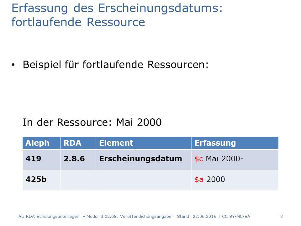 Erfassung des Erscheinungsdatums: fortlaufende Ressource Beispiel für fortlaufende Ressourcen: In der Ressource: Mai 2000 AlephRDAElementErfassung 419
