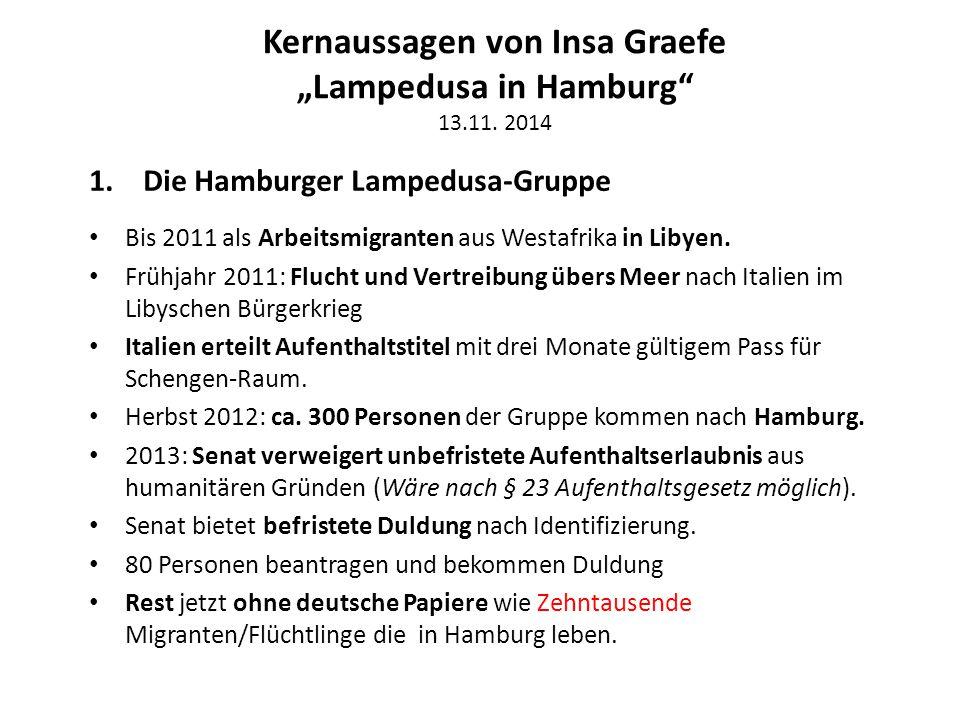 """Kernaussagen von Insa Graefe """"Lampedusa in Hamburg"""" 13.11. 2014 1.Die Hamburger Lampedusa-Gruppe Bis 2011 als Arbeitsmigranten aus Westafrika in Libye"""