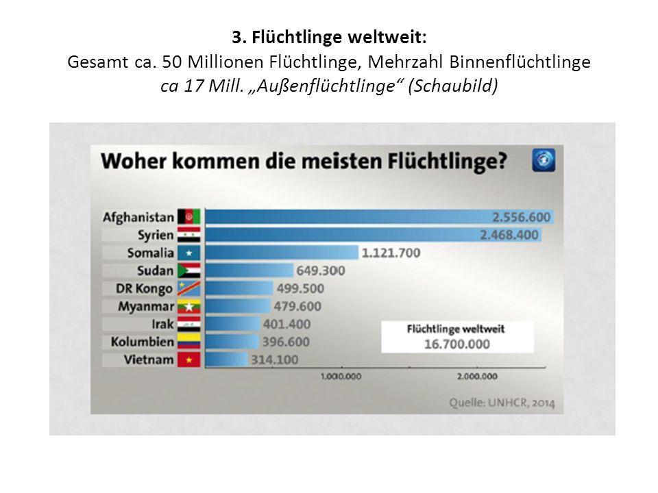 """3. Flüchtlinge weltweit: Gesamt ca. 50 Millionen Flüchtlinge, Mehrzahl Binnenflüchtlinge ca 17 Mill. """"Außenflüchtlinge"""" (Schaubild)"""