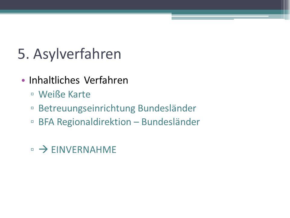 5. Asylverfahren Inhaltliches Verfahren ▫ Weiße Karte ▫ Betreuungseinrichtung Bundesländer ▫ BFA Regionaldirektion – Bundesländer ▫  EINVERNAHME