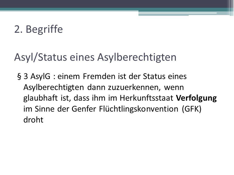 2. Begriffe Asyl/Status eines Asylberechtigten § 3 AsylG : einem Fremden ist der Status eines Asylberechtigten dann zuzuerkennen, wenn glaubhaft ist,