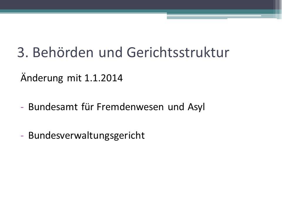 3. Behörden und Gerichtsstruktur Änderung mit 1.1.2014 -Bundesamt für Fremdenwesen und Asyl -Bundesverwaltungsgericht