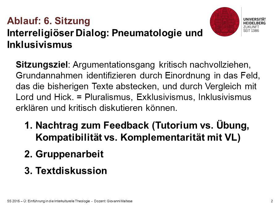 SS 2015 – Ü: Einführung in die Interkulturelle Theologie - Dozent: Giovanni Maltese2 Ablauf: 6. Sitzung Interreligiöser Dialog: Pneumatologie und Inkl