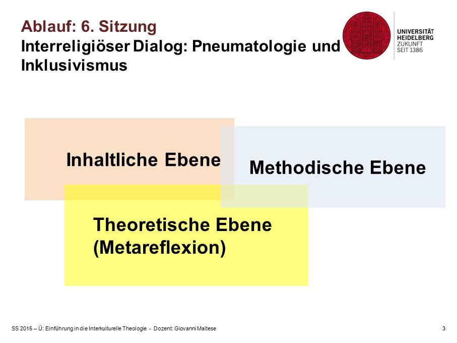 SS 2015 – Ü: Einführung in die Interkulturelle Theologie - Dozent: Giovanni Maltese3 Inhaltliche Ebene Theoretische Ebene (Metareflexion) Methodische Ebene Ablauf: 6.