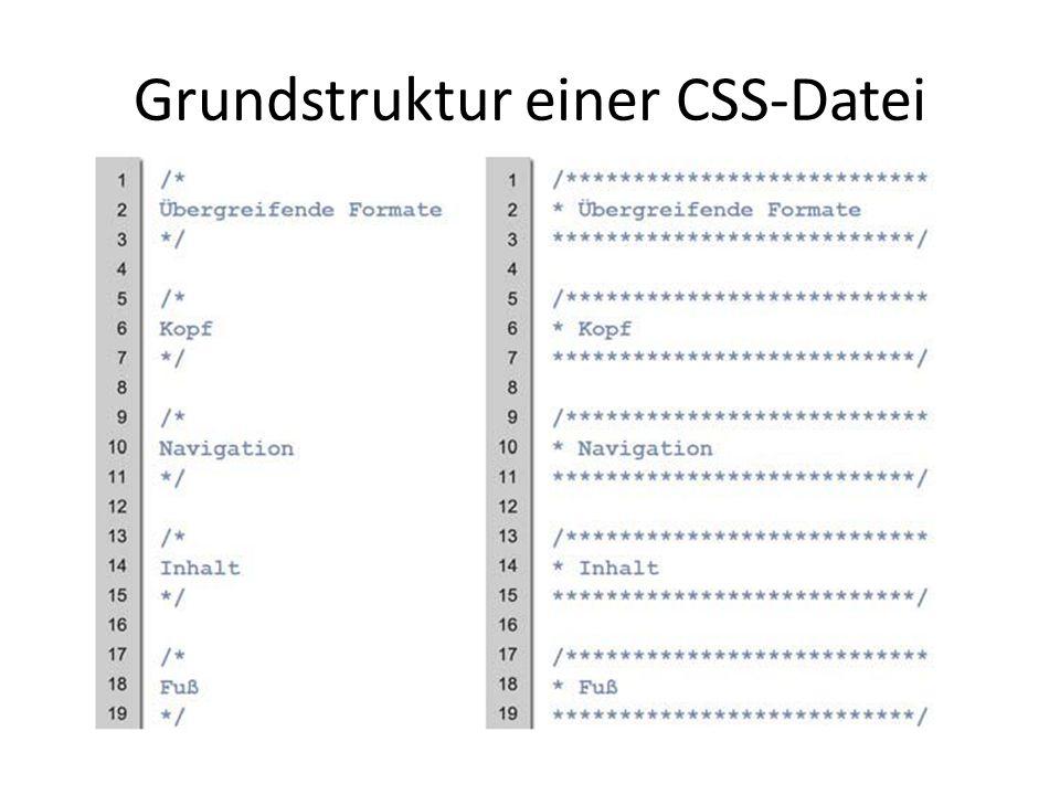 Grundstruktur einer CSS-Datei