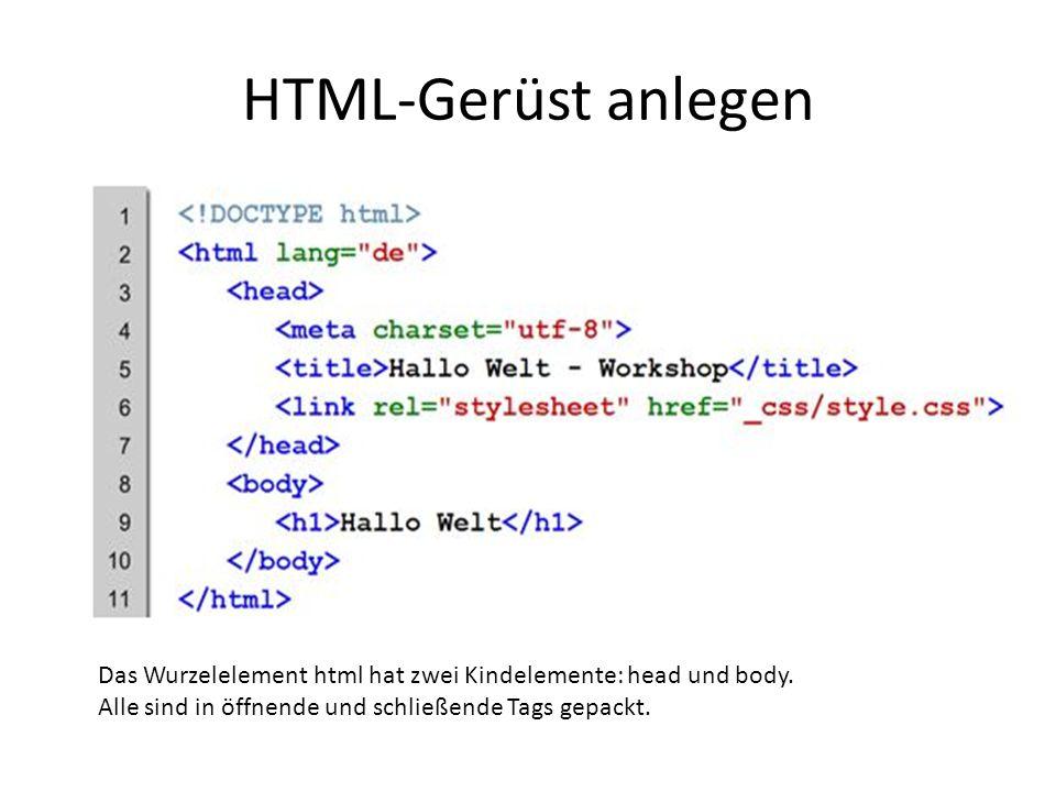 HTML-Gerüst anlegen Das Wurzelelement html hat zwei Kindelemente: head und body. Alle sind in öffnende und schließende Tags gepackt.