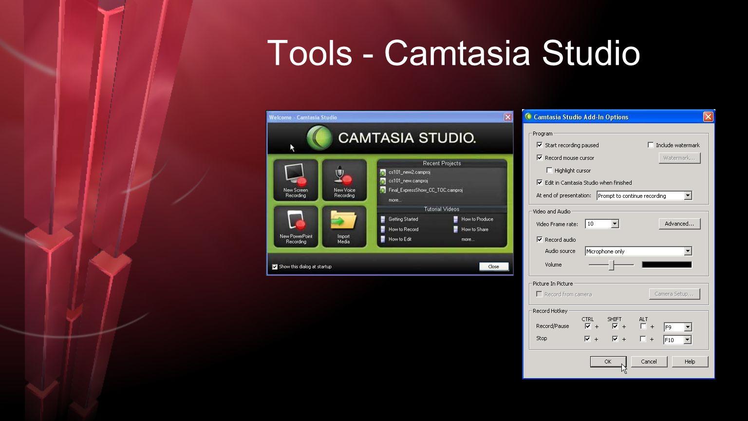 Tools - Camtasia Studio