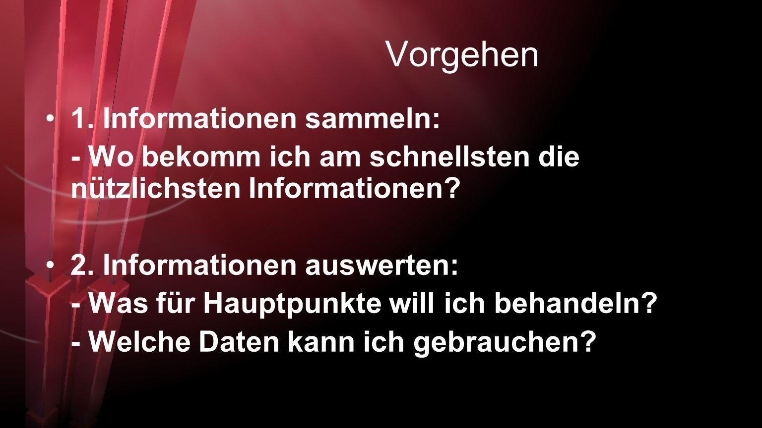 Vorgehen 1. Informationen sammeln: - Wo bekomm ich am schnellsten die nützlichsten Informationen? 2. Informationen auswerten: - Was für Hauptpunkte wi