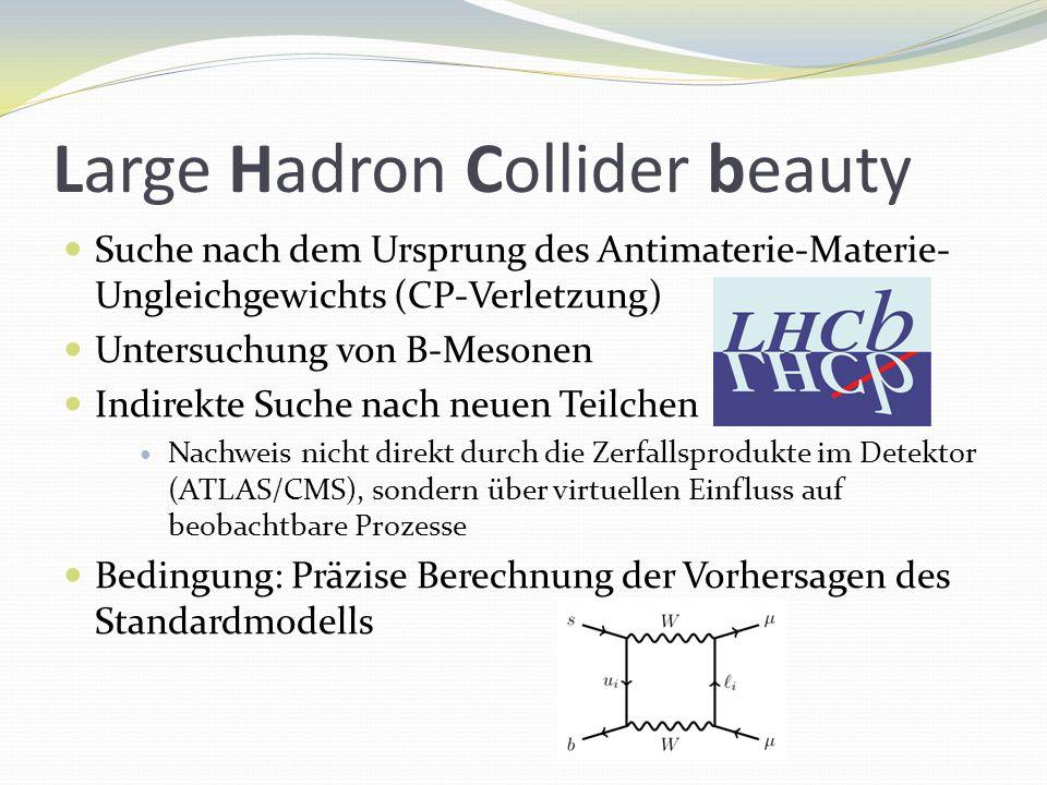 Large Hadron Collider beauty Suche nach dem Ursprung des Antimaterie-Materie- Ungleichgewichts (CP-Verletzung) Untersuchung von B-Mesonen Indirekte Suche nach neuen Teilchen Nachweis nicht direkt durch die Zerfallsprodukte im Detektor (ATLAS/CMS), sondern über virtuellen Einfluss auf beobachtbare Prozesse Bedingung: Präzise Berechnung der Vorhersagen des Standardmodells