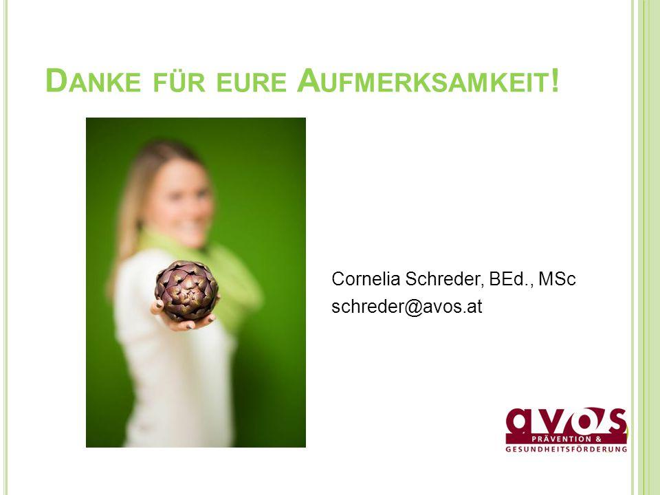 D ANKE FÜR EURE A UFMERKSAMKEIT ! Cornelia Schreder, BEd., MSc schreder@avos.at