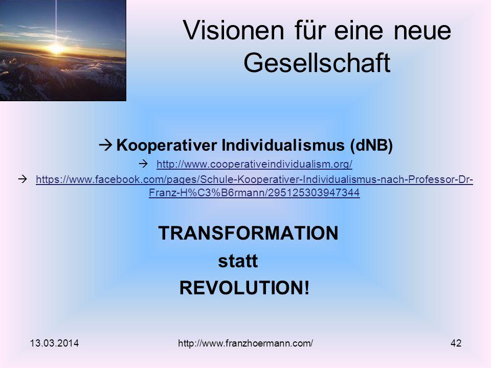  Kooperativer Individualismus (dNB)  http://www.cooperativeindividualism.org/ http://www.cooperativeindividualism.org/  https://www.facebook.com/pages/Schule-Kooperativer-Individualismus-nach-Professor-Dr- Franz-H%C3%B6rmann/295125303947344 https://www.facebook.com/pages/Schule-Kooperativer-Individualismus-nach-Professor-Dr- Franz-H%C3%B6rmann/295125303947344 TRANSFORMATION statt REVOLUTION.