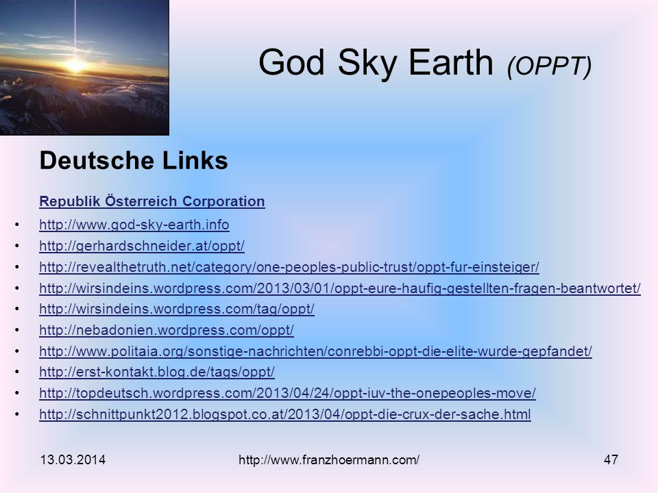 Deutsche Links Republik Österreich Corporation God Sky Earth (OPPT)