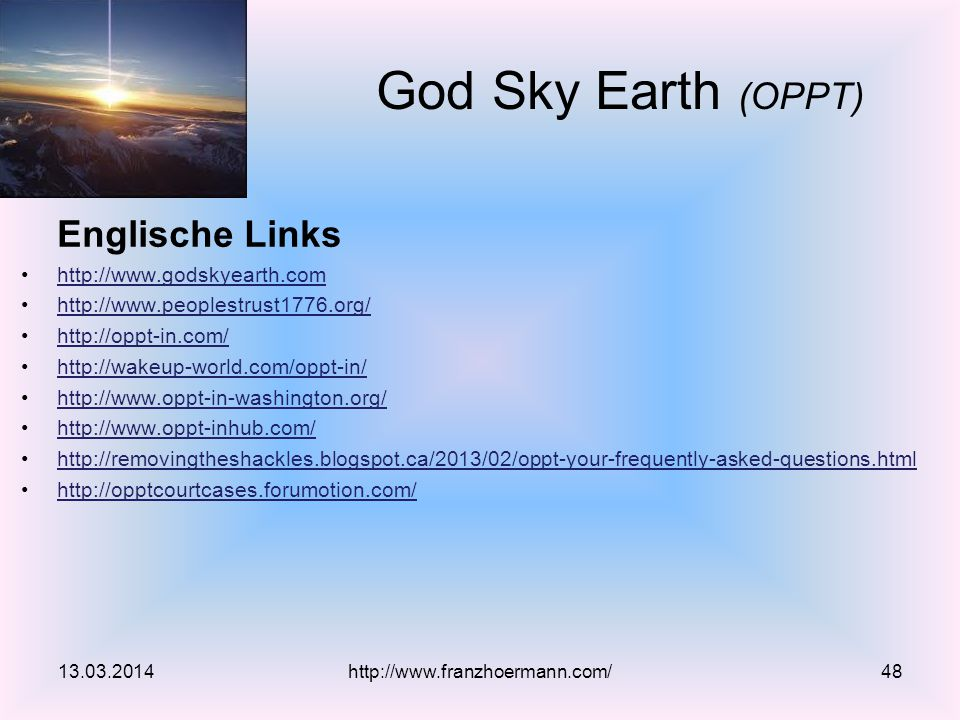 Englische Links God Sky Earth (OPPT)