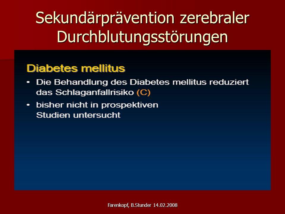 Farenkopf, B.Stunder 14.02.2008 Sekundärprävention zerebraler Durchblutungsstörungen