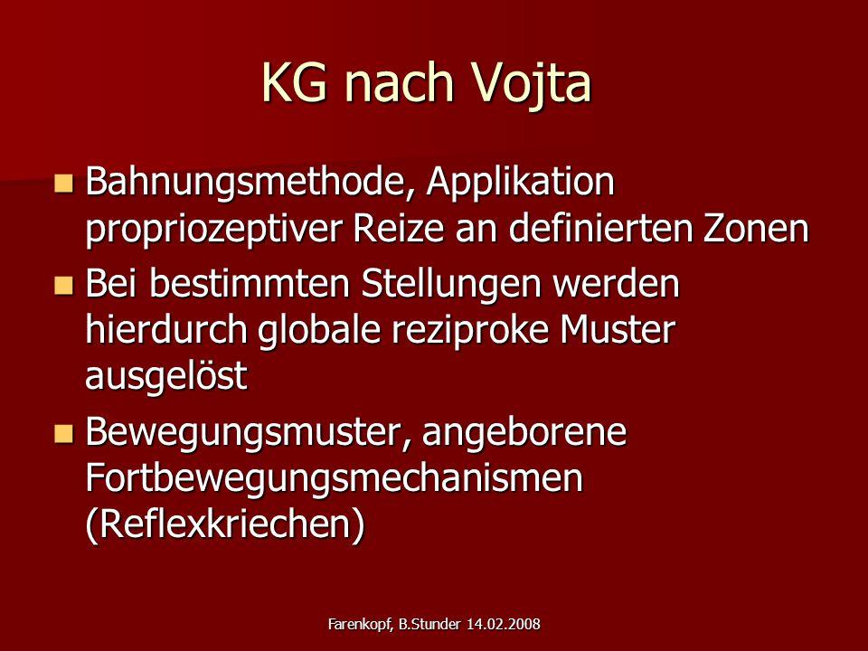 Farenkopf, B.Stunder 14.02.2008 KG nach Vojta Bahnungsmethode, Applikation propriozeptiver Reize an definierten Zonen Bahnungsmethode, Applikation pro