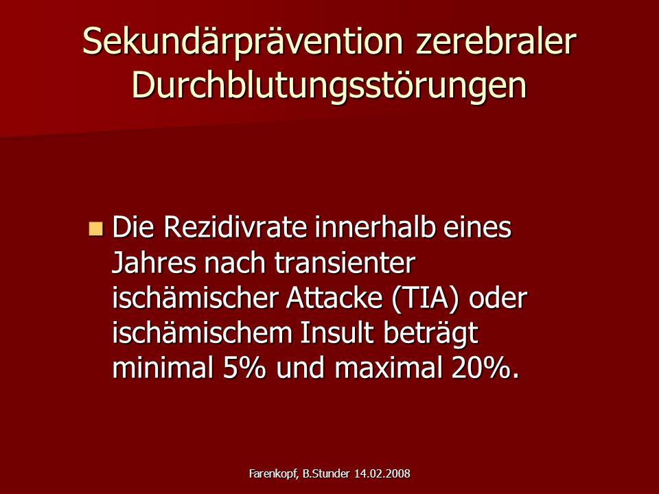 Farenkopf, B.Stunder 14.02.2008 Sekundärprävention zerebraler Durchblutungsstörungen Die Rezidivrate innerhalb eines Jahres nach transienter ischämischer Attacke (TIA) oder ischämischem Insult beträgt minimal 5% und maximal 20%.