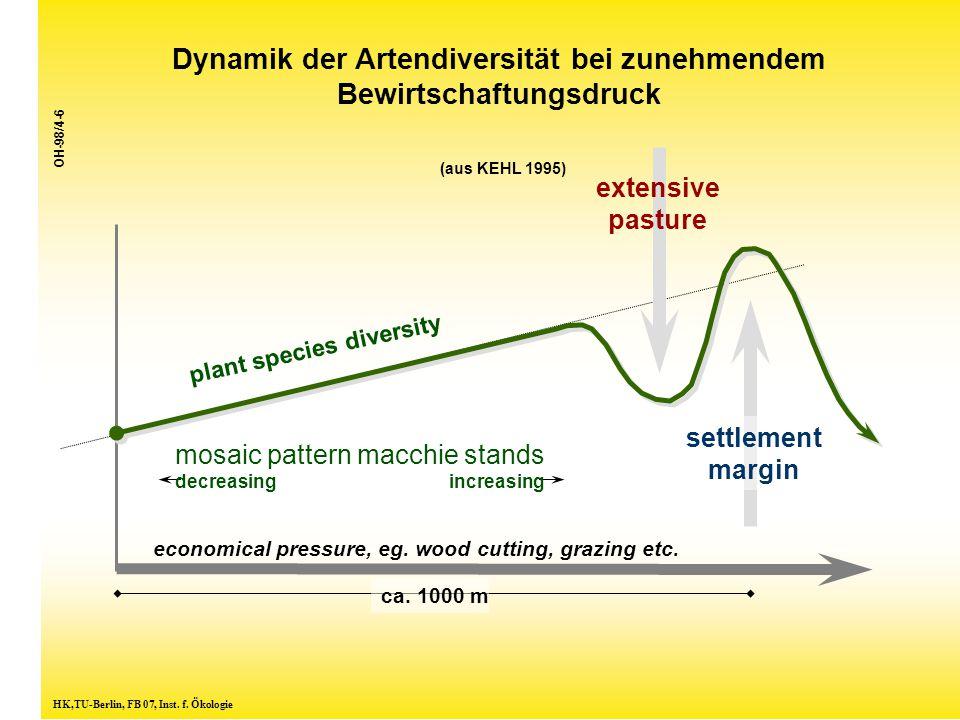 Dynamik der Artendiversität bei zunehmendem Bewirtschaftungsdruck (aus KEHL 1995) HK,TU-Berlin, FB 07, Inst. f. Ökologie plant species diversity econo