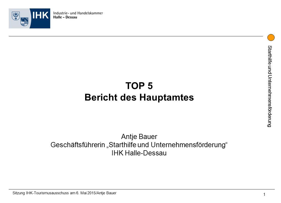 """Starthilfe und Unternehmensförderung TOP 5 Bericht des Hauptamtes Antje Bauer Geschäftsführerin """"Starthilfe und Unternehmensförderung IHK Halle-Dessau Sitzung IHK-Tourismusausschuss am 6."""