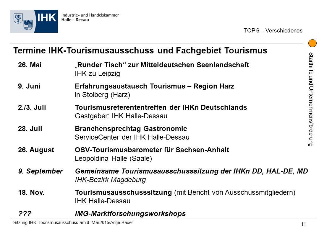 Starthilfe und Unternehmensförderung Termine IHK-Tourismusausschuss und Fachgebiet Tourismus 26.
